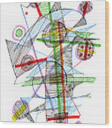Abstract Pen Drawing Forty-nine Wood Print