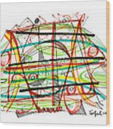 Abstract Pen Drawing Forty-seven Wood Print