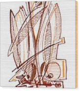 Abstract Pen Drawing Sixty-four Wood Print