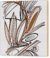 Abstract Pen Drawing Sixty-six Wood Print