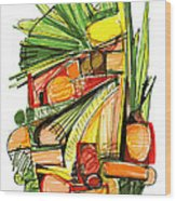 Abstract Pen Drawing Sixty-two Wood Print