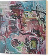 Abstract Pink Blue Painting Wood Print