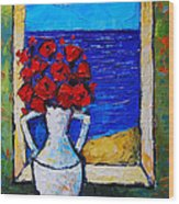 Abstract Poppies By The Sea Wood Print