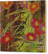 Abstract Poppies Flowers Mixed Media Painting Wood Print