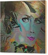 Abstract Portrait Of A Blue Lady Wood Print by Doris Wood