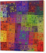 Abstract - Rainbow Bliss - Fractal - Square Wood Print