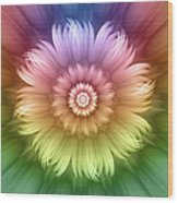 Abstract Rainbow Flower Wood Print