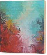 Abstract Red Blue Digital Print Wood Print