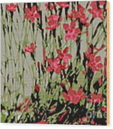 Abstract Red Flowers Wood Print