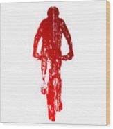 Abstract Red Mountain Biking Wood Print