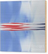 Abstract Red White And Blue Silver Rocket Square Wood Print