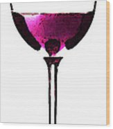 Abstract Red Wine Glass 2 Wood Print