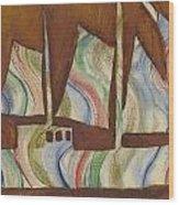 Abstract Sailboat Wood Print