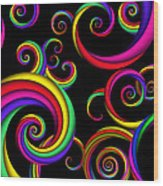 Abstract - Spirals - Inside A Clown Wood Print by Mike Savad