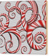 Abstract - Spirals - Peppermint Dreams Wood Print