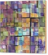 Abstract  Squares Wood Print