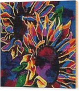 Abstract Sunflowers Wood Print