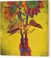 Abstract Sunflowers In Vase Wood Print