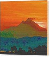 Abstract Sunrise Wood Print