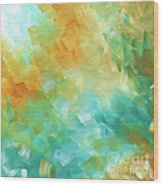 Abstract Textured Decorative Art Original Painting Gold And Teal By Madart Wood Print