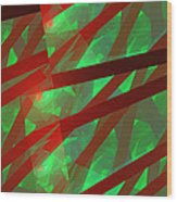 Abstract Tiled Green And Red Fractal Flame Wood Print