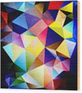 Abstract Triangles And Texture Wood Print