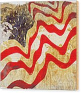 Abstract Usa Flag Wood Print by Stefano Senise