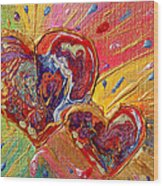 Abstract Valentines Love Hearts Wood Print by Julia Apostolova