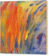 Abstract Watercolor Painting With Fire Flames Wood Print
