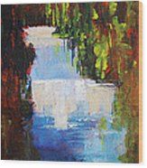 Abstract Waterfall Painting Wood Print