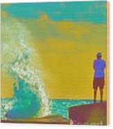 Abstract Wave Crash Wood Print