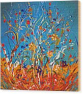 Abstract Wildflowers Wood Print