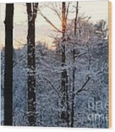 Abstract Winter Sunset Wood Print