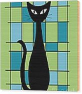 Abstract With Cat In Green Wood Print