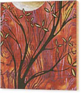 Abstract Wood Pattern Painting Original Landscape Art Moon Tree By Megan Duncanson Wood Print