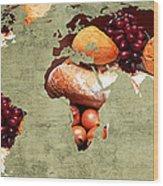 Abstract World Map - Harvest Bounty - Farmers Market Wood Print