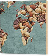 Abstract World Map - Mixed Nuts - Snack - Nut Hut Wood Print