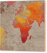 Abstract World Map - Rainbow Passion - Digital Painting Wood Print