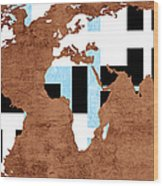 Abstract World Map - Which Way Is Up - Painterly Wood Print