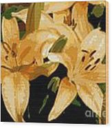 Abstract Yellow Asiatic Lily - 1 Wood Print