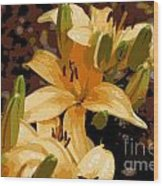 Abstract Yellow Asiatic Lily - 2 Wood Print