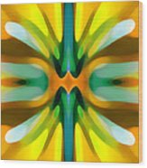 Abstract Yellowtree Symmetry Wood Print by Amy Vangsgard