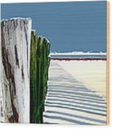 Abstracted Beach Dune Fence Wood Print