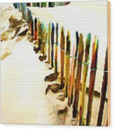 Abstracted March Of The Colored Dune Fence Wood Print