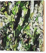 Abstraction Green And White Wood Print