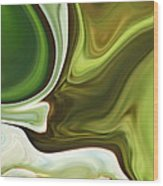 Abstraction With Emerald Orb Wood Print