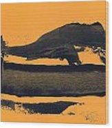 Abstracto Black Yellow Wood Print