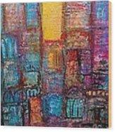 Abstrtact City Sunset Wood Print