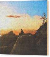 Acadia Bass Harbor Head Lighthouse Silhouette Wood Print