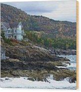 Acadia Seaside Mansion Wood Print